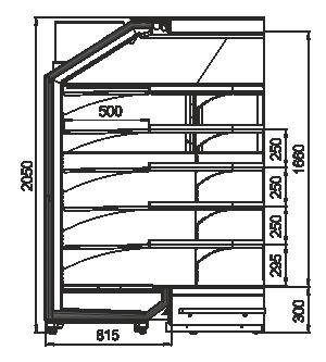 Пристенные витрины Indiana MV 080 MT O 205-DLA-IS90