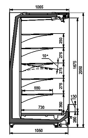 Wandkühlregale Indiana MV 105 MT O 205-DLM