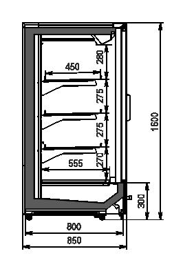 Холодильні пристінні вітрини Indiana MV 080 LT D 160-DLM