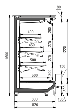 Холодильніпристінні вітрини Indiana MV 080 MT O 160-DLM