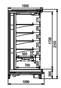 Холодильні пристінні вітрини Louisiana 5 MV 105 MT О 210-DLM