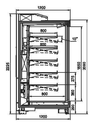 Пристенные витрины Louisiana AV 115 MT D 210-DLA