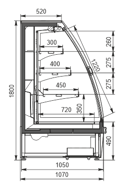 Refrigerated semi-vertical cabinets Louisiana eco ASV 105 MT D 180-DLA