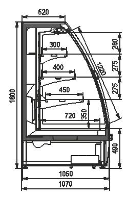 Холодильні напіввертикальні вітрини Louisiana eco ASV 105 MT D 180-DLA