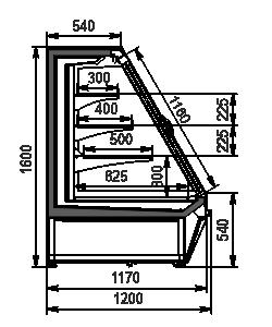 Полувертикальная витрина Louisiana eco ASV 115 MT D 160-DLA