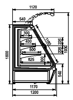 Полувертикальная витрина Louisiana eco ASV 115 MT D 160-DLA (option)