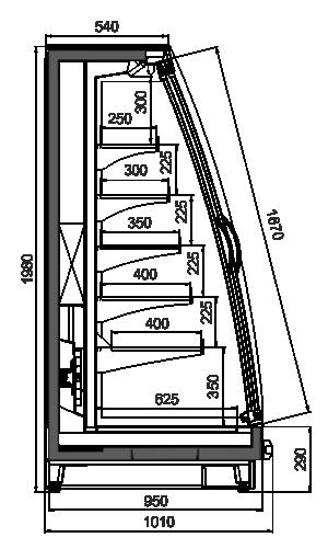 Полувертикальные витрины Louisiana eco MSV 095 MT D 200-DLM