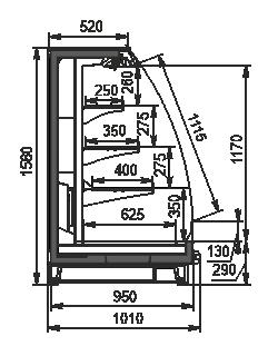 Halbhohe Wandkühlregale Louisiana eco MSV 095 MT O 160-DLM