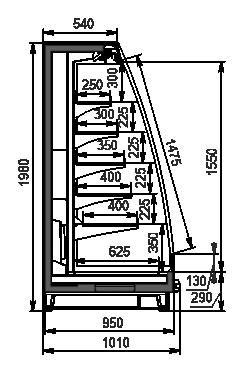 Halbhohe Wandkühlregale Louisiana eco MSV 095 MT O 200-DLM