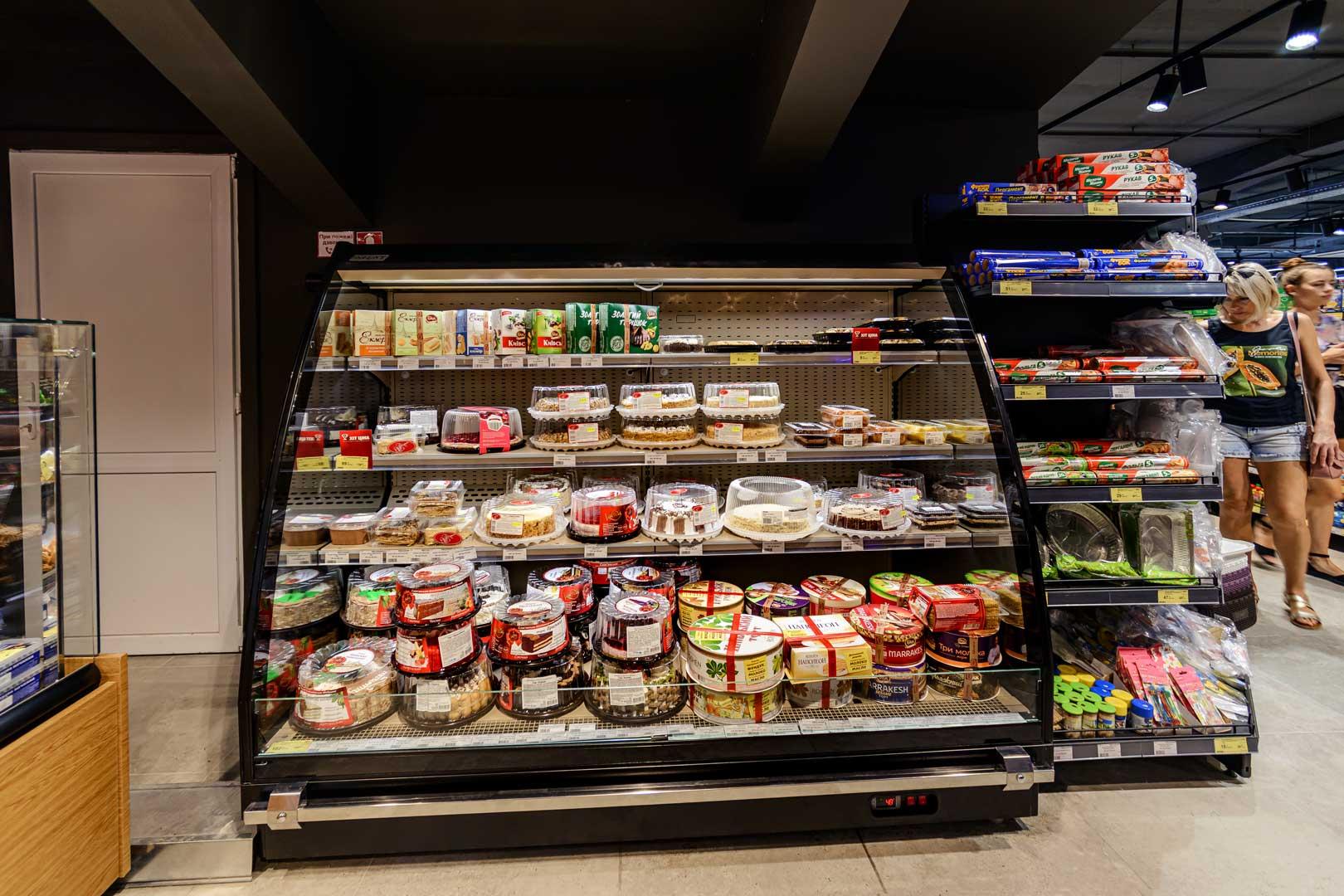 "Halbhohe Wandkühlregale «Louisiana eco MSV 105 MT O 160-DLM», Supermarkt ""Zerkalny"" in Berdjansk"