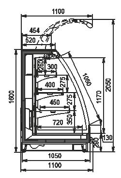 Halbhohe Wandkühlregale Louisiana eco MSV 105 MT O 160-DLM