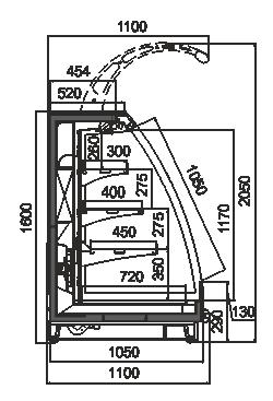 Напіввертикальні вітрини Louisiana eco MSV 105 MT O 160-DLM