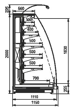 Halbhohe Wandkühlregale Louisiana eco NB MSV 115 MT O 200-DLM - option