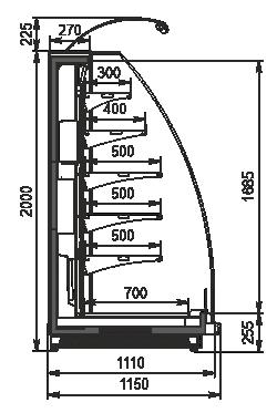 Halbhohe Wandkühlregale Louisiana eco MSV 115 MT O 200-DLM-option