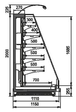 Halbhohe Wandkühlregale Louisiana eco MSV 115 MT O 200-DLM