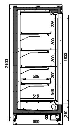 Tiefkühlwandvitrinen Louisiana MV 090 LT D 210-DLM