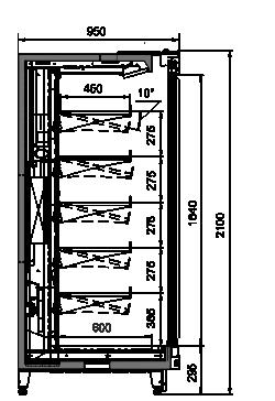 Tiefkühlwandvitrinen Louisiana MV 095 MT D 210-DLM