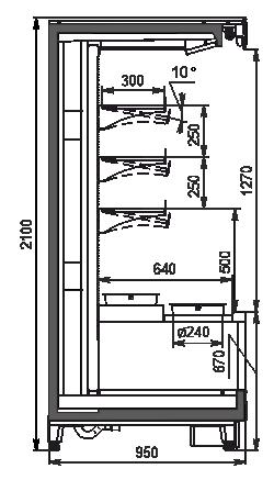 Холодильные пристенные витрины Louisiana MV 095 pickles MT О 210-DLM