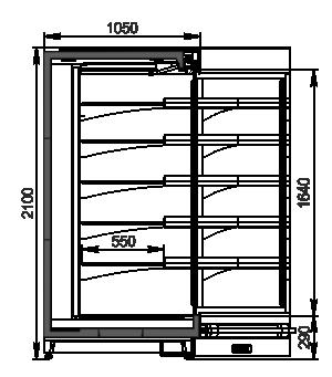 Пристенные витрины Louisiana MV 105 MT O 210-DLM-IS90