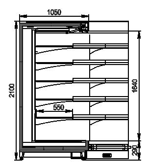 Tiefkühlwandvitrinen Louisiana MV 105 MT O 210-DLM-IS90