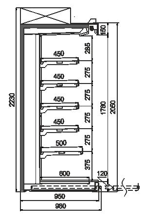 Пристенные витрины Louisiana ULF AV 095 AT O A