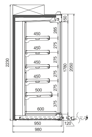 Пристенные витрины Louisiana ULF AV 095 AT D A