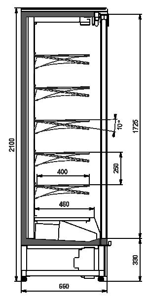 Пристенные витрины Indiana cube AV 066 MT D 210-DLA