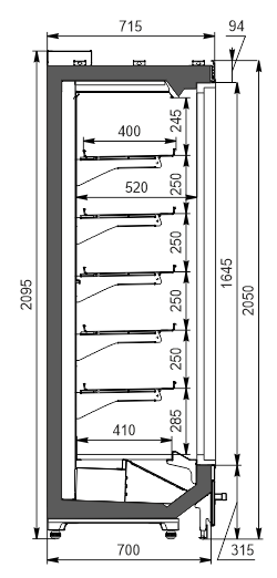 Пристенные витрины Indiana MV 070 LT D 205-DLM