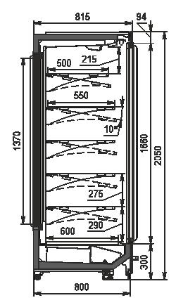 Пристінні вітрини Indiana BD MV 080 MT D 205-DLM