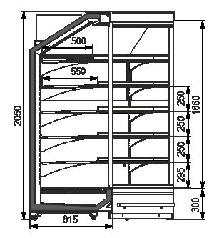 Пристінні вітрини Indiana MV 080 MT D 205-DLA-IS90