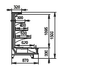 Refrigerated semi-vertical cabinet Missouri cold diamond island 087 deli LF 150-DLM