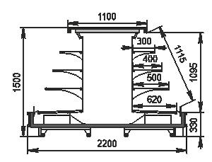 Refrigerated semi-vertical cabinet Missouri cold diamond island 110 deli LF 150-DLM-TL