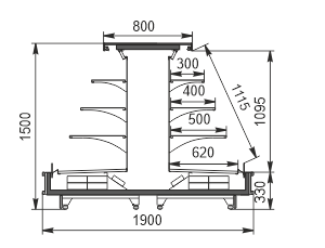 Refrigerated semi-vertical cabinet Missouri cold diamond island 095 deli LF 150-DLM-TL