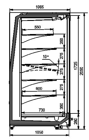 Холодильные пристенные витрины Indiana MV 105 MT D 205-DLM