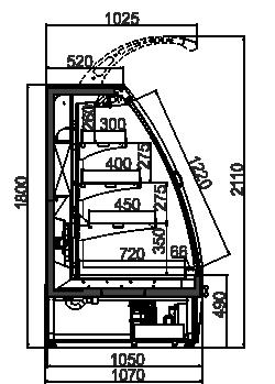 Schrägvitrinen Louisiana eco ASV 105 MT D 180-DLA
