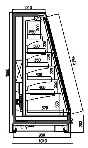 Schrägvitrinen Louisiana eco MSV 095 MT D 200-DLM