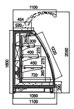 Schrägvitrinen Louisiana eco MSV 105 MT D 160-DLM