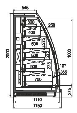 Schrägvitrinen Louisiana eco MSV 115 MT D 200-DLM