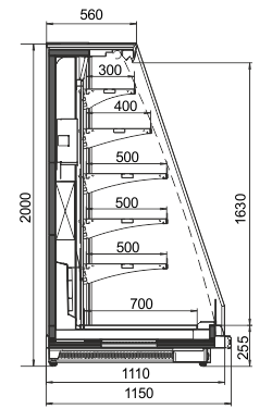 Schrägvitrinen Louisiana eco MSV 115 MT O 200-DLM mit Nachtvorhang