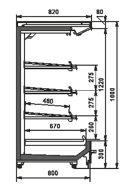 Тепловые пристенные витрина Indiana NV 080 heat O 160