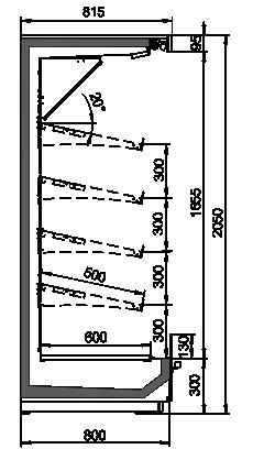 Tiefkühlwandvitrinen Indiana MV 080 FV O 205-DLM