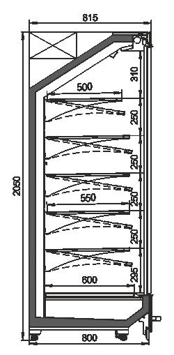 Tiefkühlwandvitrinen Indiana MV 080 MT D 205-DLA