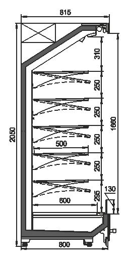 Tiefkühlwandvitrinen Indiana MV 080 MT O 205-DLA