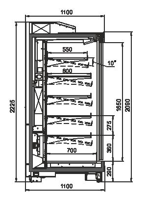 Tiefkühlwandvitrinen Louisiana MV 105 MT D 210-DLA