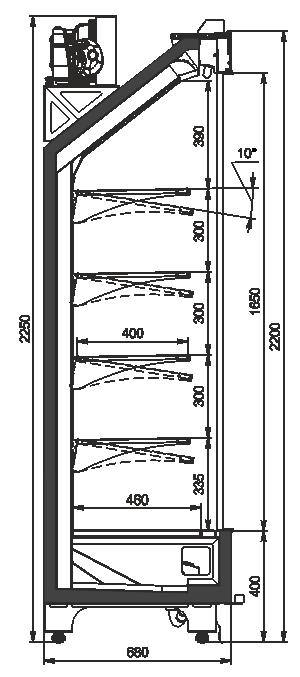 Tiefkühlwandvitrinen Indiana cube V AV 070 MT D 220-DLA