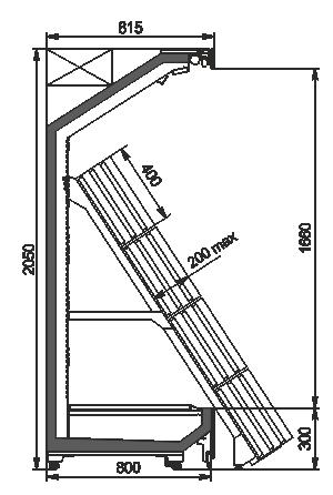 Tiefkühlwandvitrinen Indiana MV 080 FV O 205-DLA