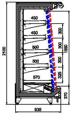 Tiefkühlwandvitrinen Indiana tandem MV 090 MT O 210-DLM