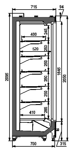 Wandkühlregale Indiana MV 070 LT D 205-DLM
