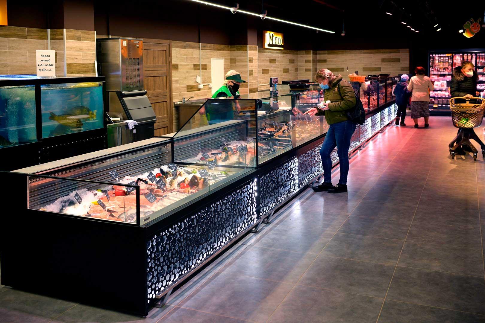 """Спеціалізована вітрина для продажу риби та морепродуктів на льоду Missouri MC 120 fish self 086, супермаркет """"Пчелка-маркет"""