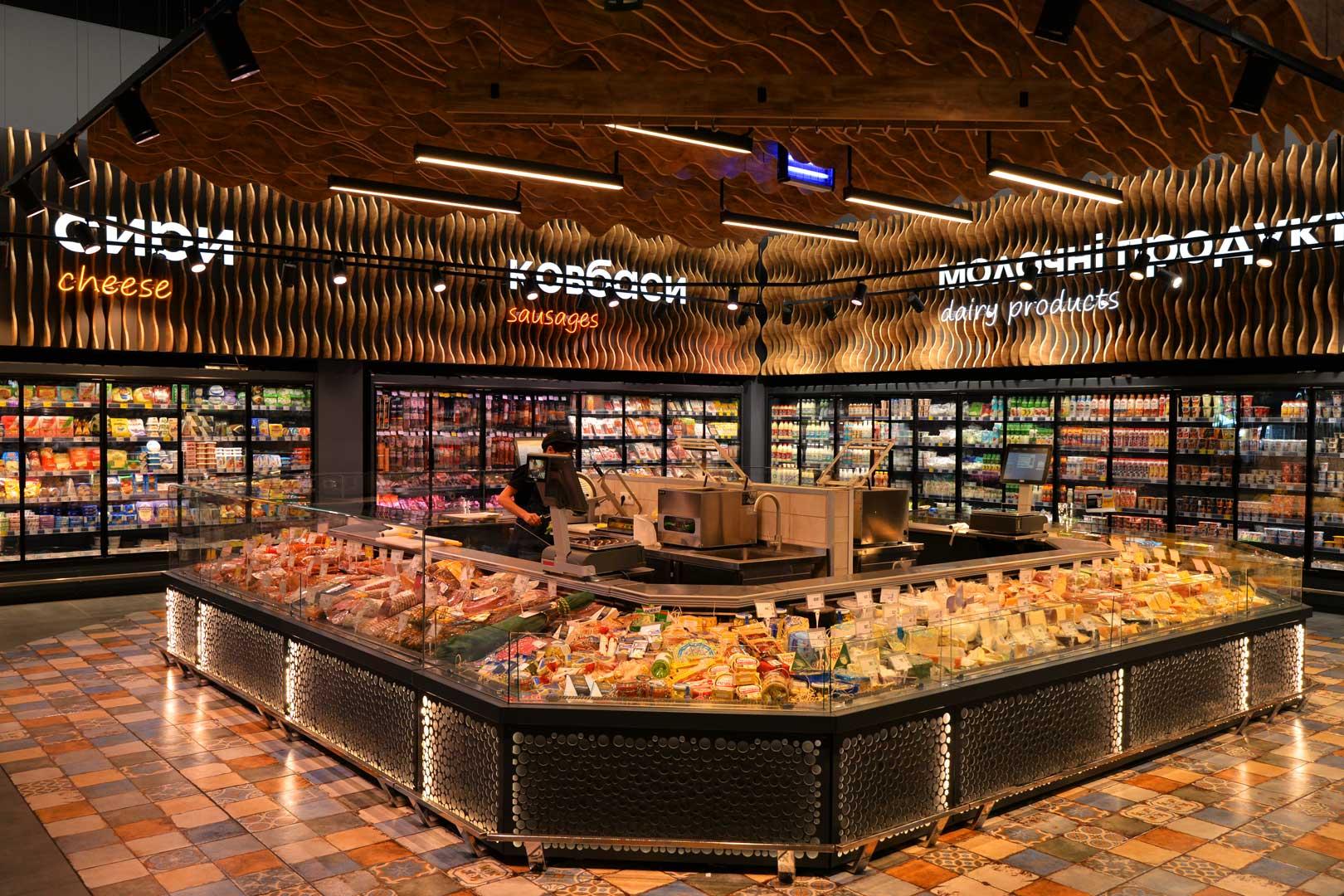 """Refrigerated counters Missouri MC 120 deli OS M, supermarket """"Epicentr"""" Poltava"""